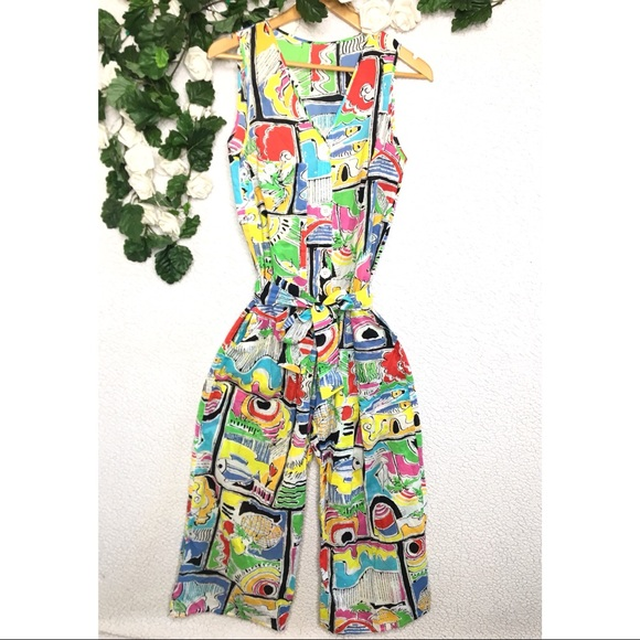 Vintage Pants - Vintage Dotti Retro Colorful Multi Print Jumpsuit